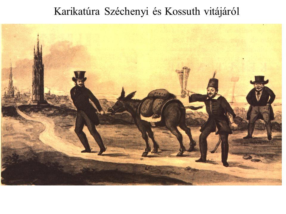 Karikatúra Széchenyi és Kossuth vitájáról