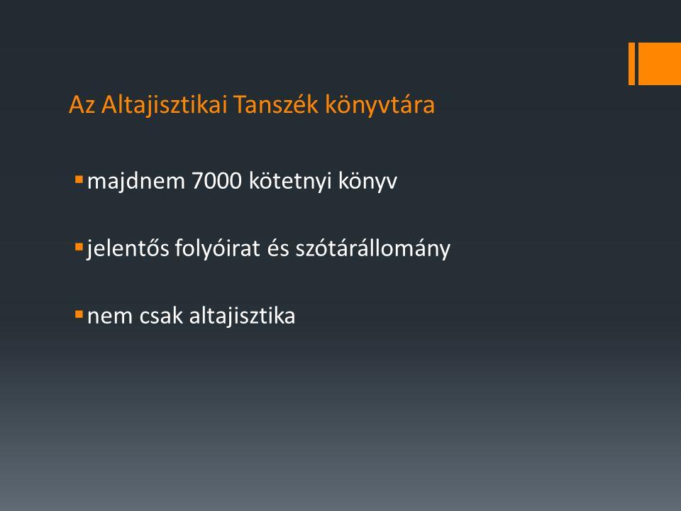 Az Altajisztikai Tanszék könyvtára