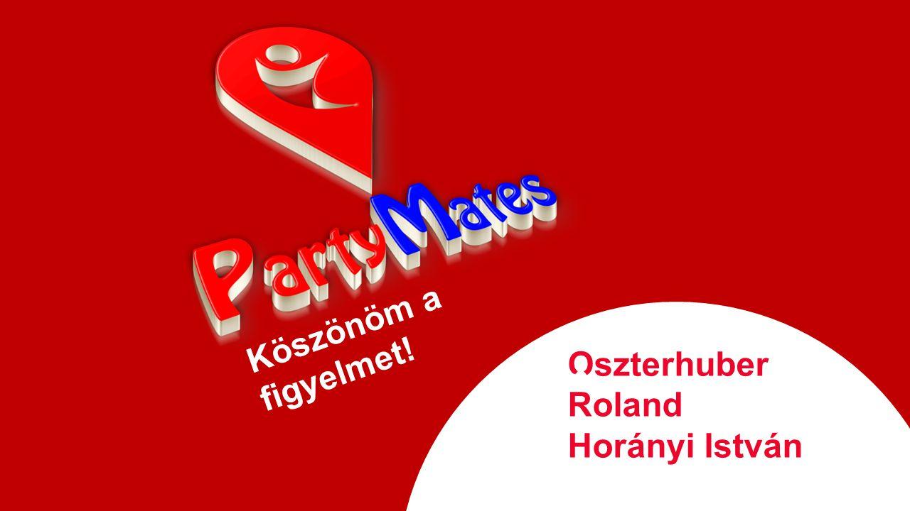 Köszönöm a figyelmet! Oszterhuber Roland Horányi István info@partymates.net