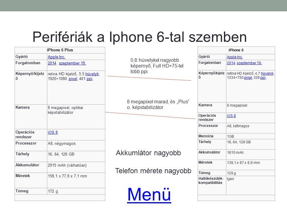 Menü Perifériák a Iphone 6-tal szemben Akkumlátor nagyobb
