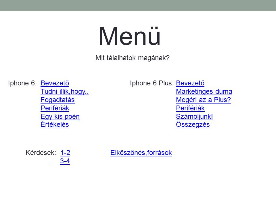 Menü Mit tálalhatok magának Iphone 6: Bevezető Tudni illik,hogy..