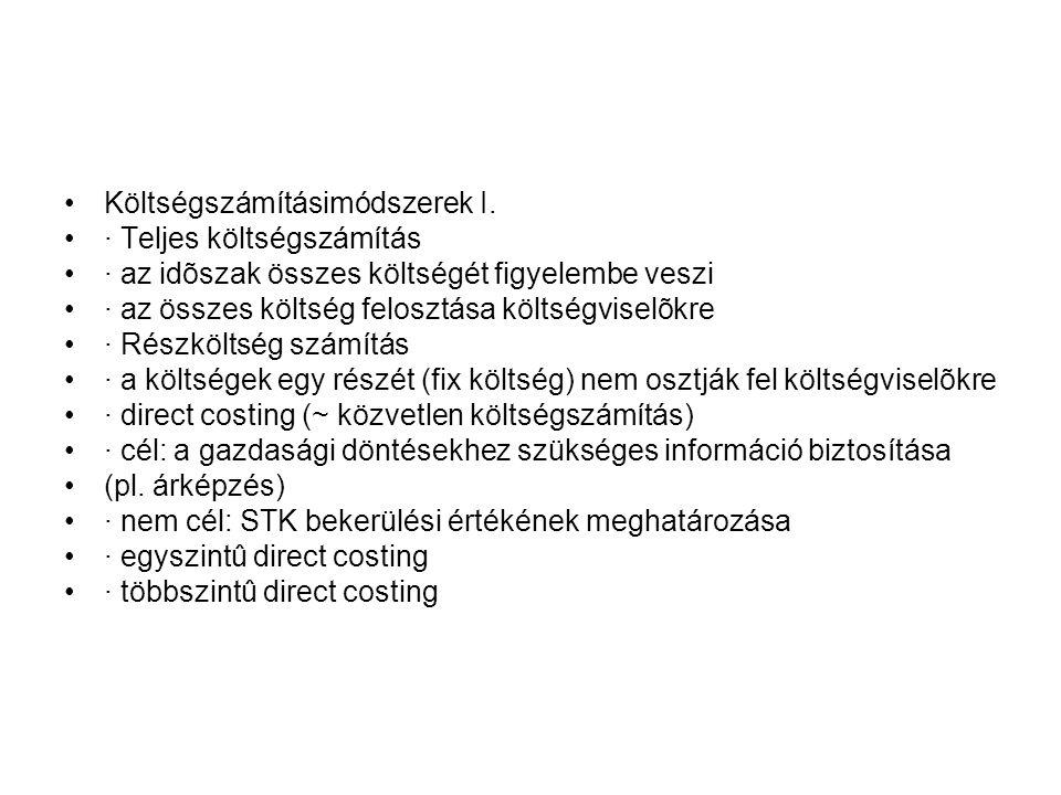 Költségszámításimódszerek I.