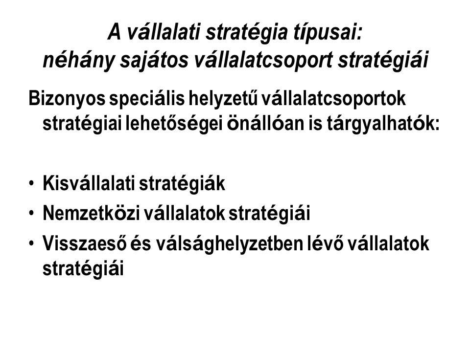 A vállalati stratégia típusai: néhány sajátos vállalatcsoport stratégiái