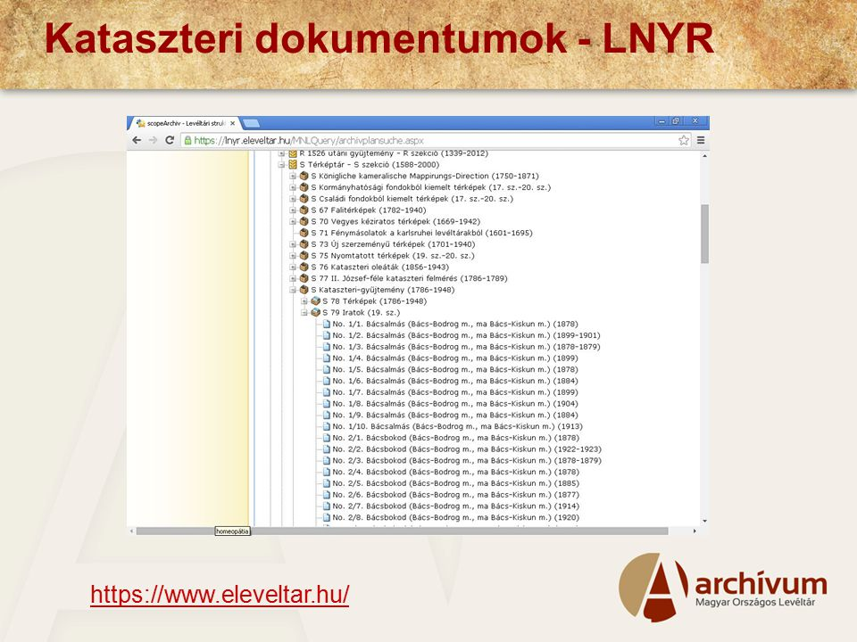 Kataszteri dokumentumok - LNYR