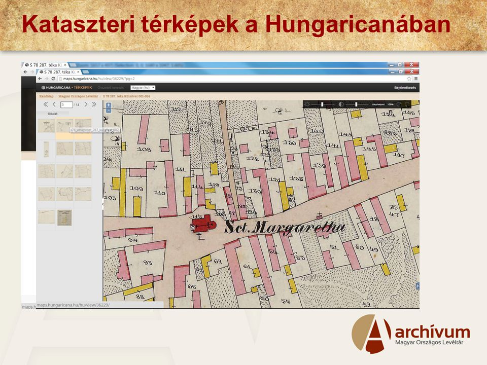 Kataszteri térképek a Hungaricanában