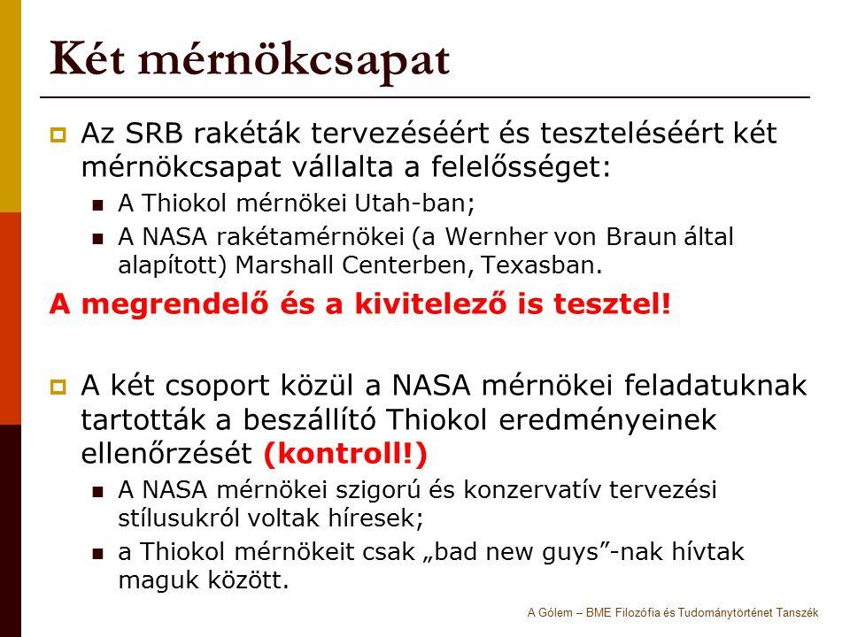 Két mérnökcsapat Az SRB rakéták tervezéséért és teszteléséért két mérnökcsapat vállalta a felelősséget: