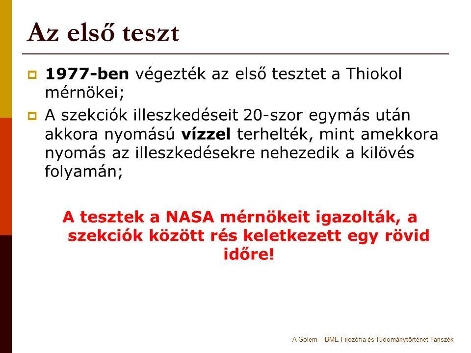 Az első teszt 1977-ben végezték az első tesztet a Thiokol mérnökei;