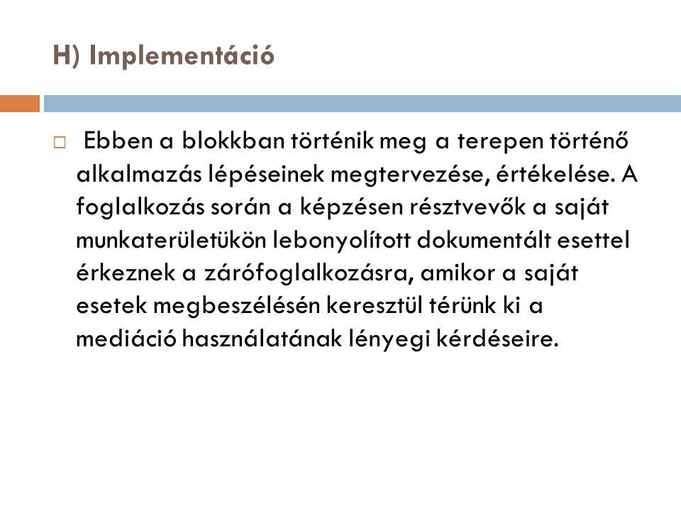 H) Implementáció