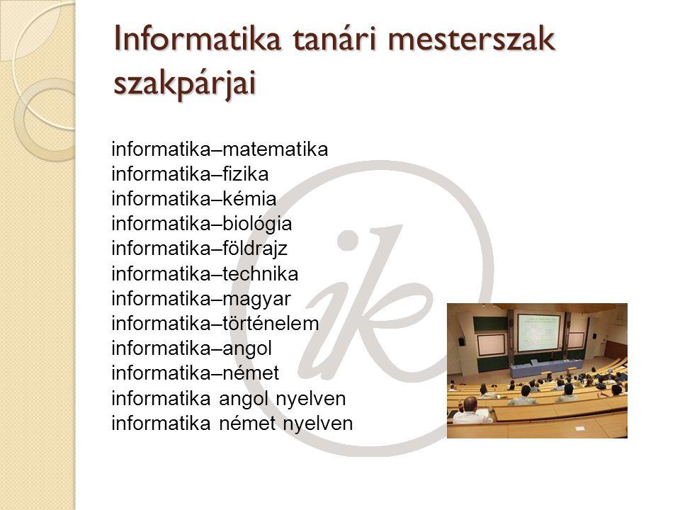 Informatika tanári mesterszak szakpárjai