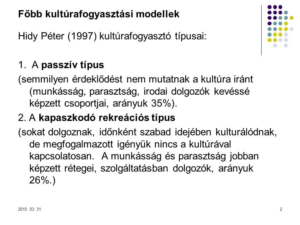 Főbb kultúrafogyasztási modellek
