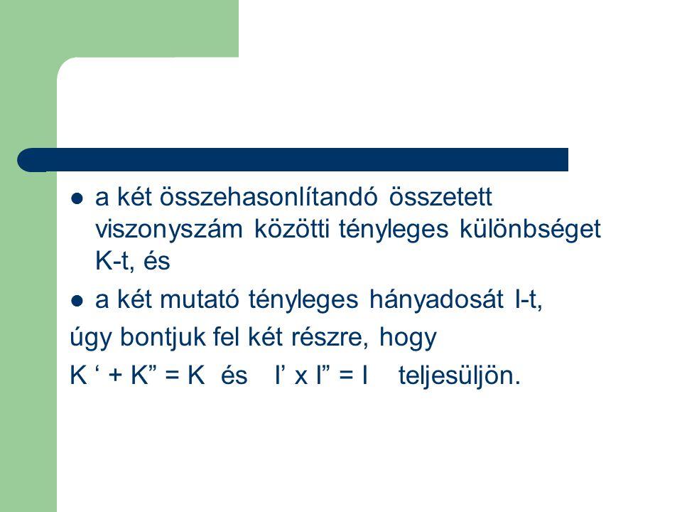a két összehasonlítandó összetett viszonyszám közötti tényleges különbséget K-t, és