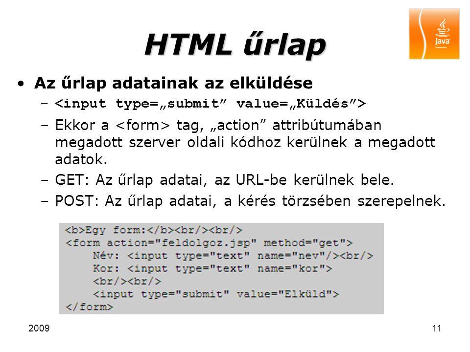 HTML űrlap Az űrlap adatainak az elküldése