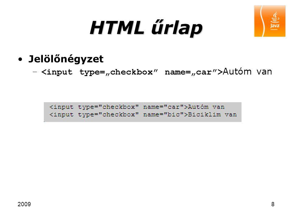 HTML űrlap Jelölőnégyzet