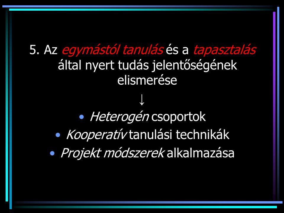 Kooperatív tanulási technikák Projekt módszerek alkalmazása