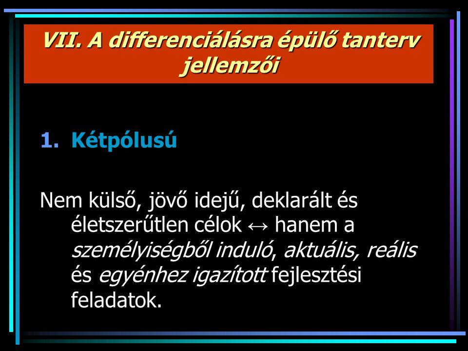VII. A differenciálásra épülő tanterv jellemzői