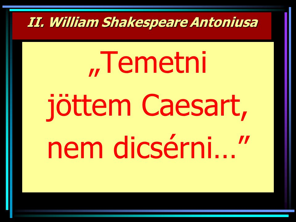II. William Shakespeare Antoniusa