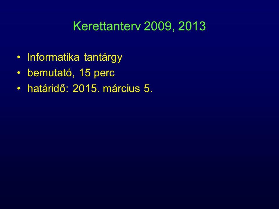 Kerettanterv 2009, 2013 Informatika tantárgy bemutató, 15 perc