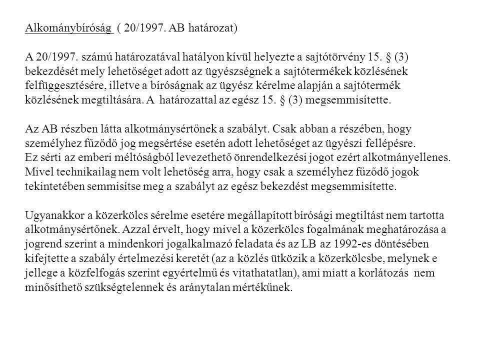 Alkománybíróság ( 20/1997. AB határozat)