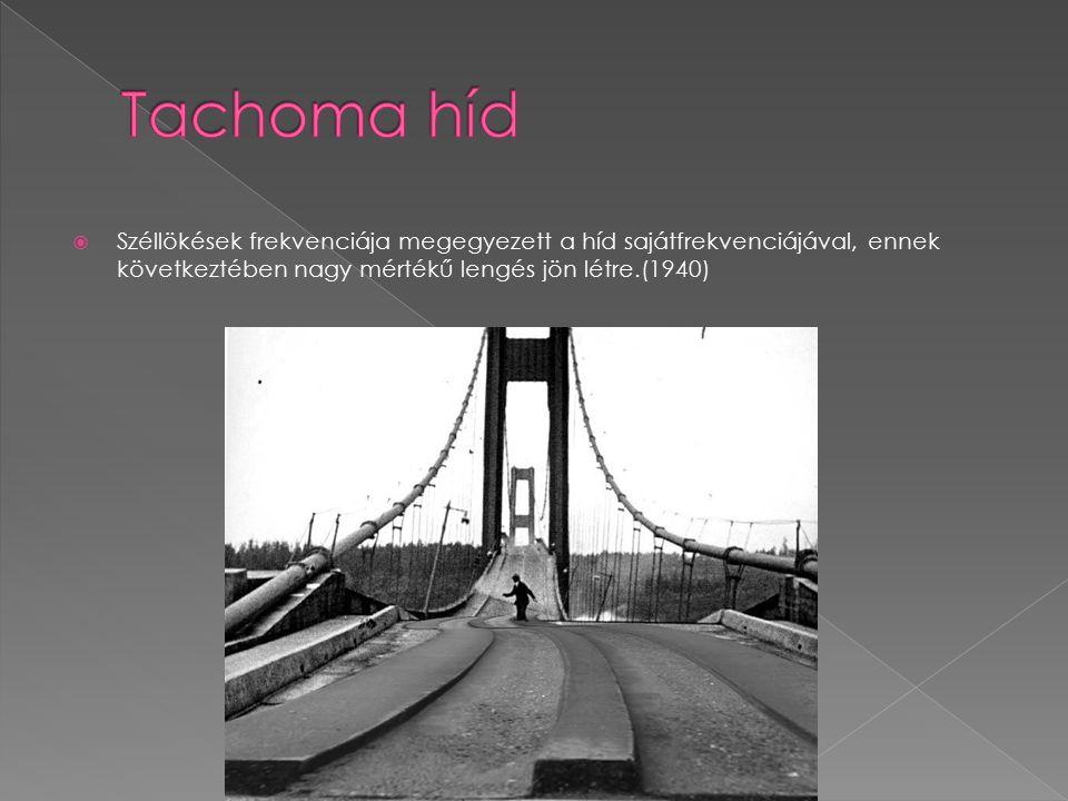 Tachoma híd Széllökések frekvenciája megegyezett a híd sajátfrekvenciájával, ennek következtében nagy mértékű lengés jön létre.(1940)