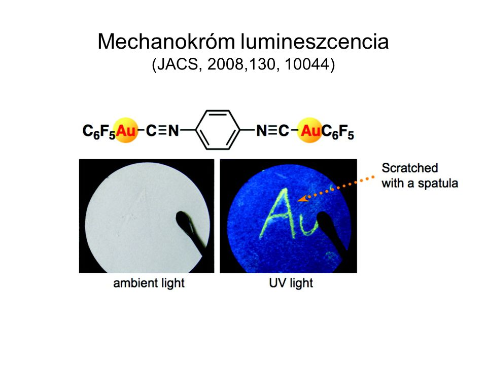 Mechanokróm lumineszcencia (JACS, 2008,130, 10044)