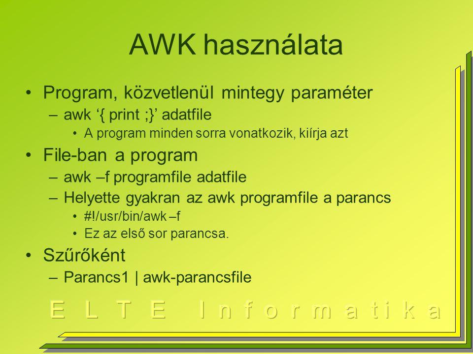 AWK használata Program, közvetlenül mintegy paraméter