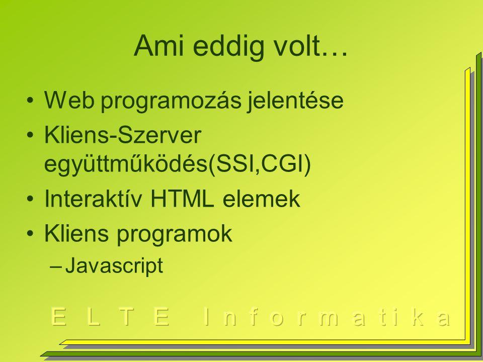 Ami eddig volt… Web programozás jelentése