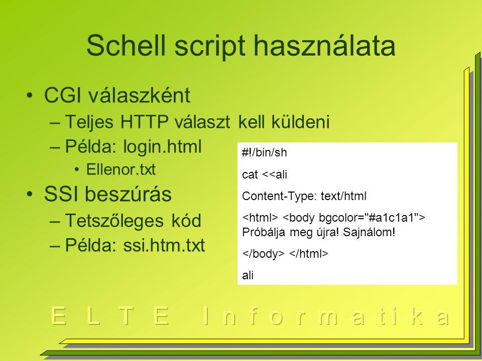 Schell script használata