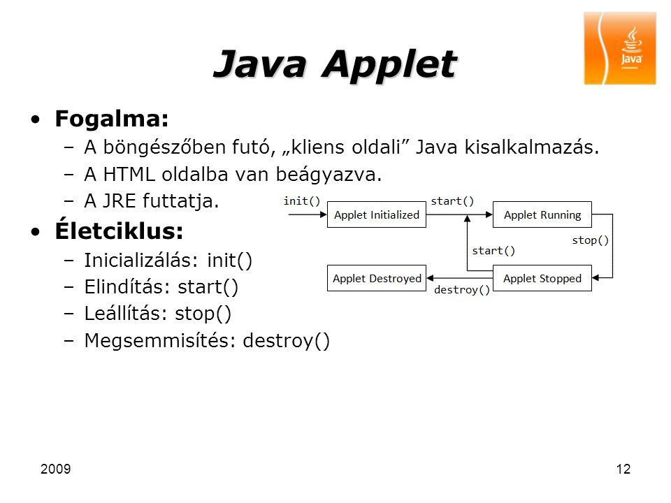 Java Applet Fogalma: Életciklus: