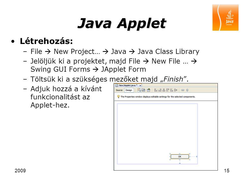 Java Applet Létrehozás: