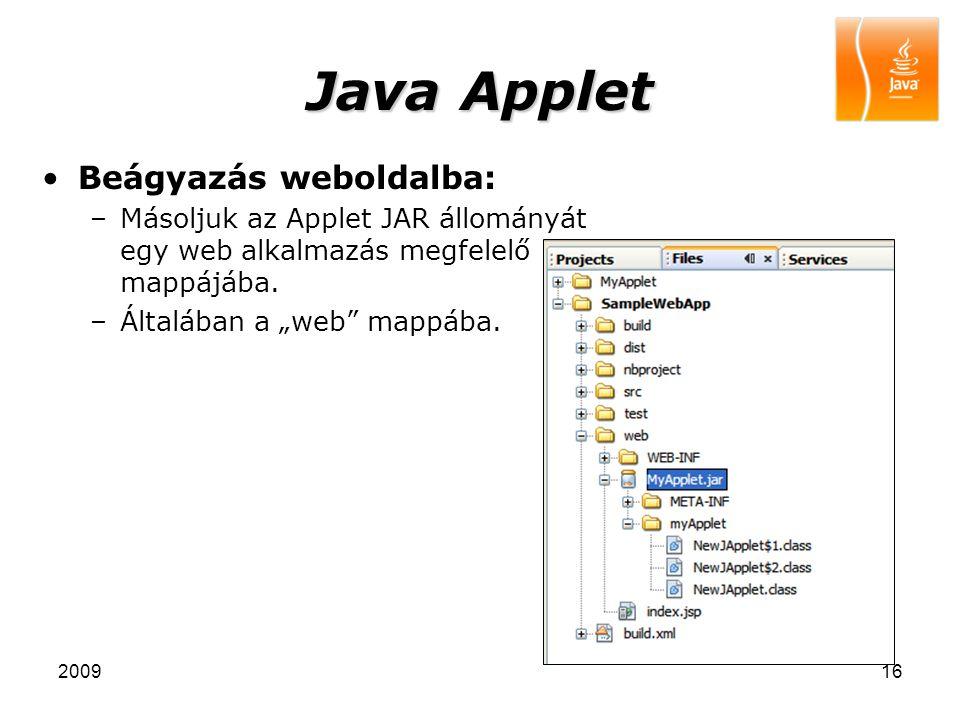 Java Applet Beágyazás weboldalba: