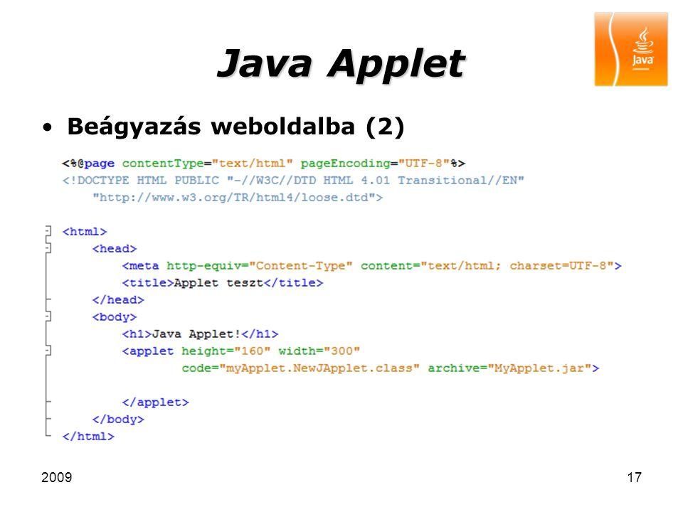 Java Applet Beágyazás weboldalba (2) 2009
