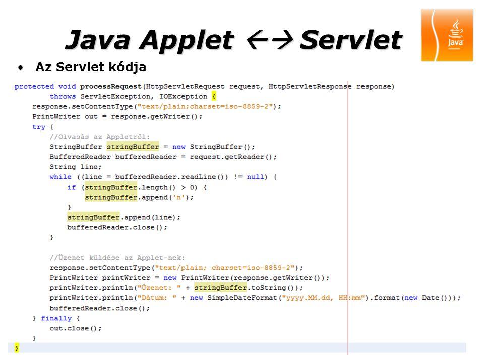 Java Applet  Servlet Az Servlet kódja 2009