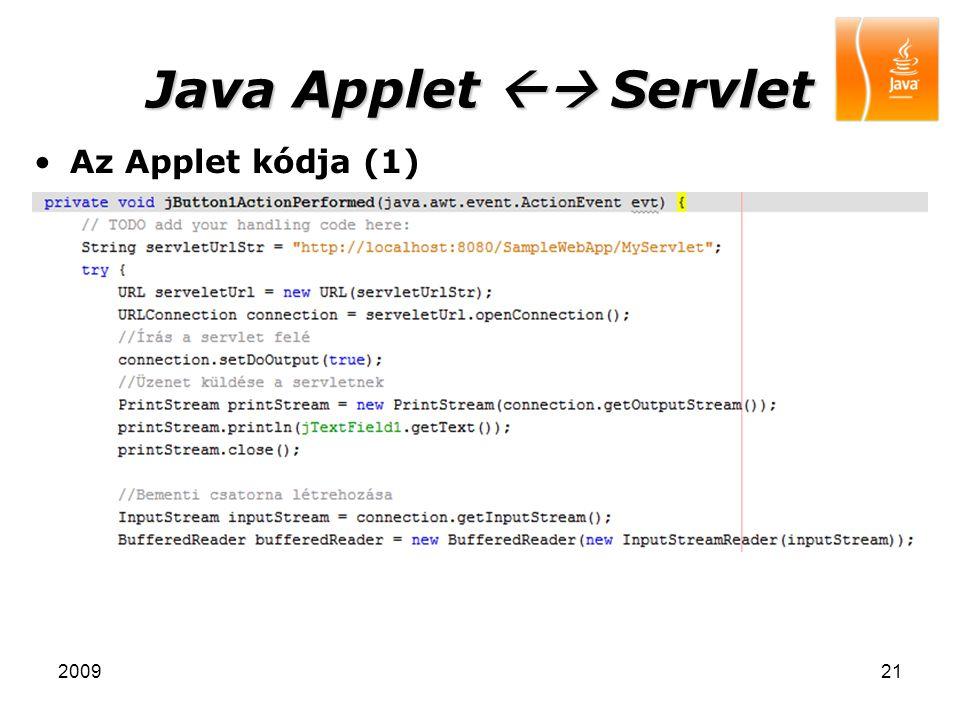 Java Applet  Servlet Az Applet kódja (1) 2009