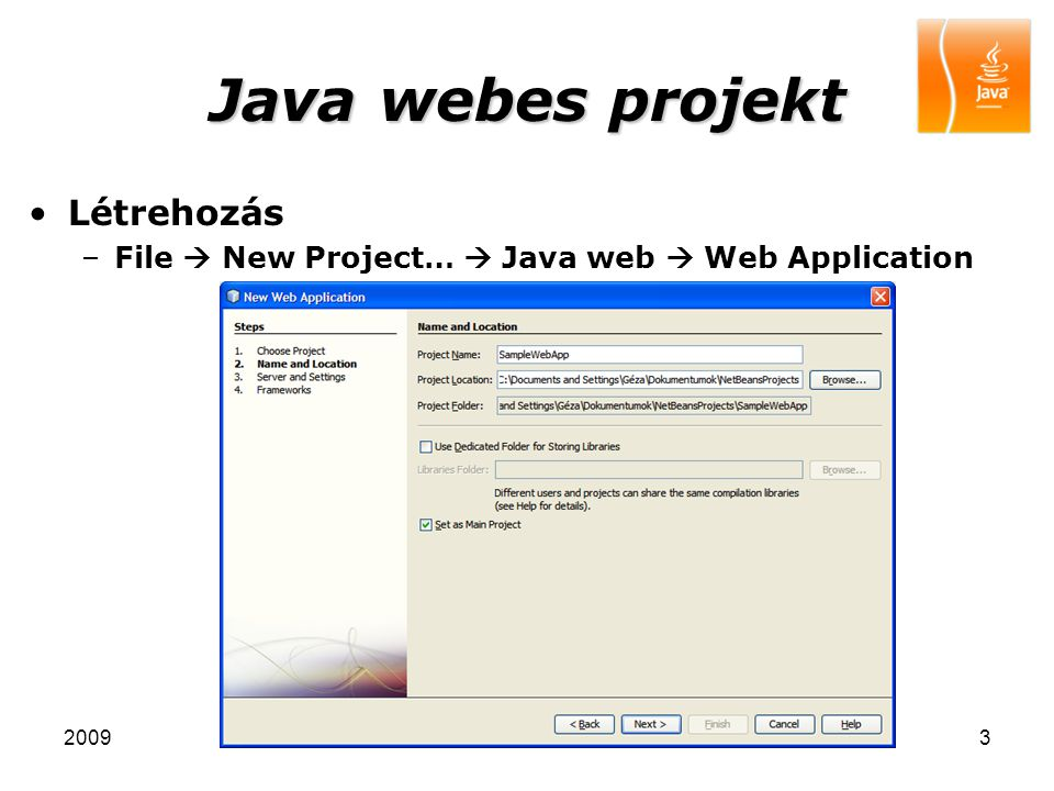 Java webes projekt Létrehozás
