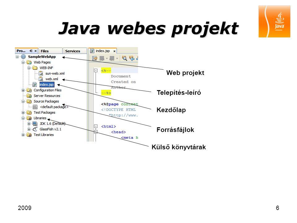 Java webes projekt Web projekt Telepítés-leíró Kezdőlap Forrásfájlok