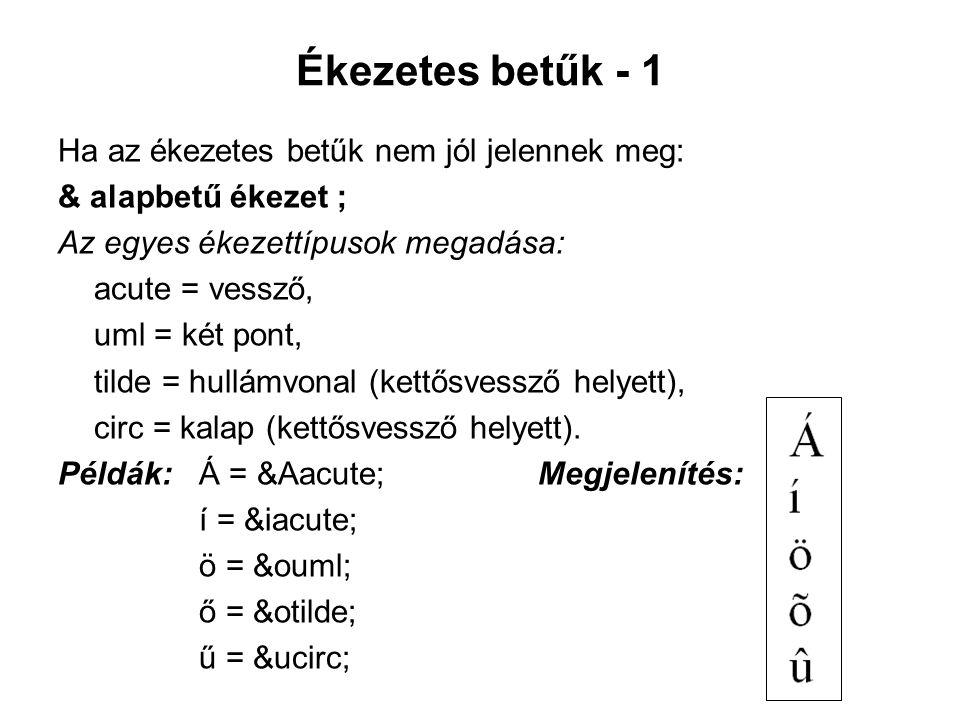 Ékezetes betűk - 1 Ha az ékezetes betűk nem jól jelennek meg: