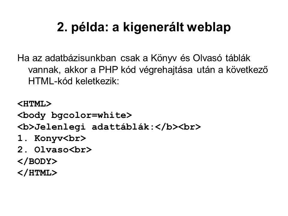2. példa: a kigenerált weblap