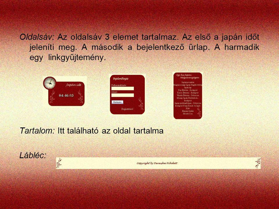 Oldalsáv: Az oldalsáv 3 elemet tartalmaz