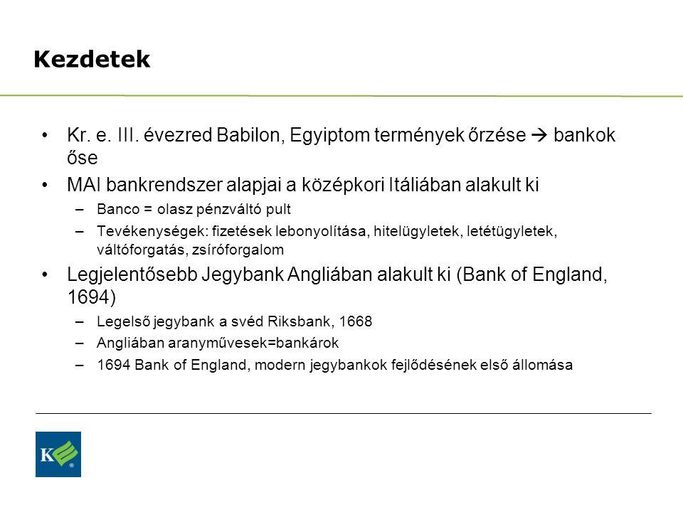 Kezdetek Kr. e. III. évezred Babilon, Egyiptom termények őrzése  bankok őse. MAI bankrendszer alapjai a középkori Itáliában alakult ki.