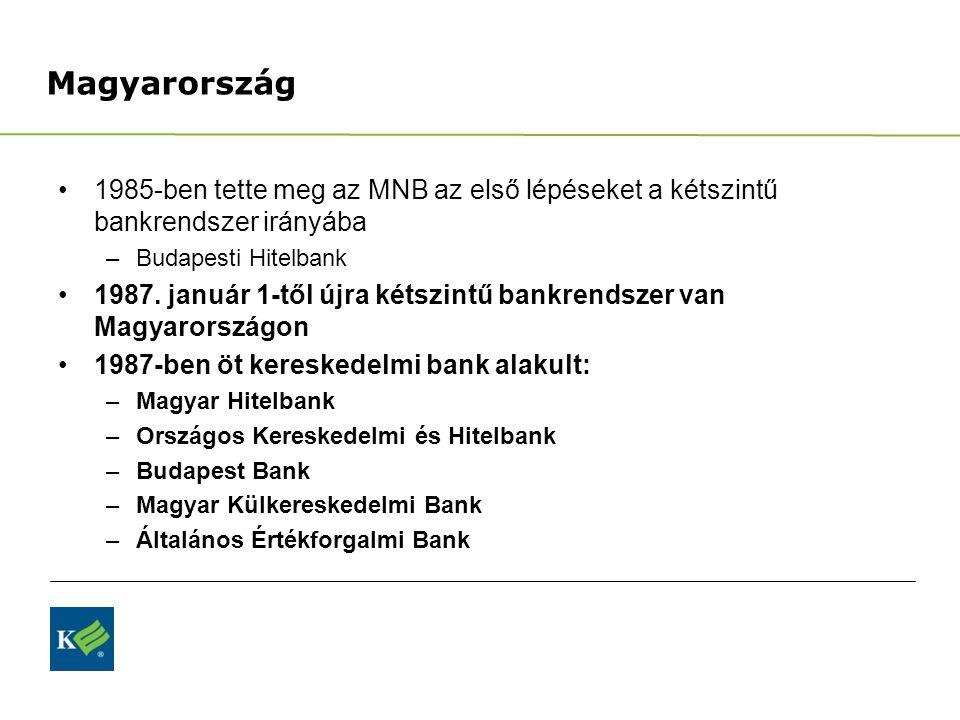 Magyarország 1985-ben tette meg az MNB az első lépéseket a kétszintű bankrendszer irányába. Budapesti Hitelbank.
