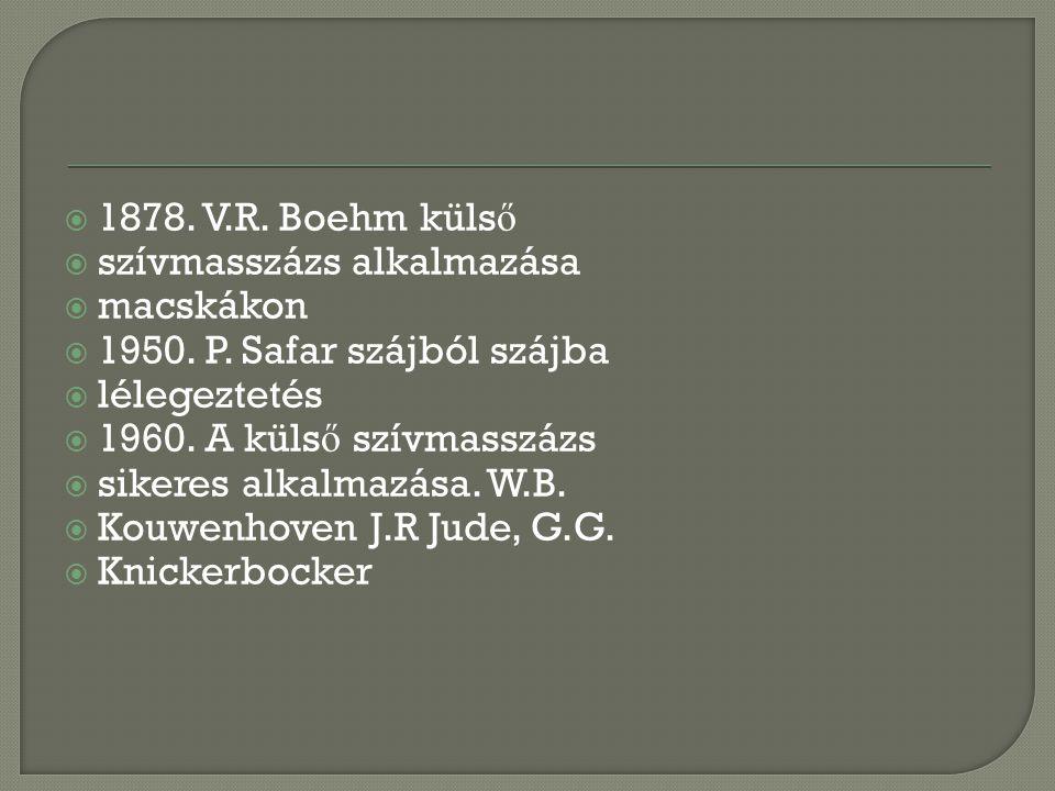 1878. V.R. Boehm külső szívmasszázs alkalmazása. macskákon. 1950. P. Safar szájból szájba. lélegeztetés.