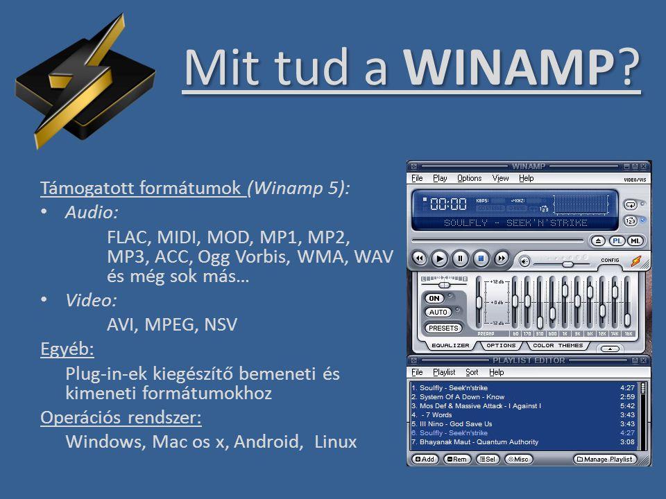 Mit tud a WINAMP Támogatott formátumok (Winamp 5): Audio: