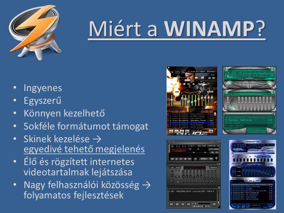 Miért a WINAMP Ingyenes Egyszerű Könnyen kezelhető