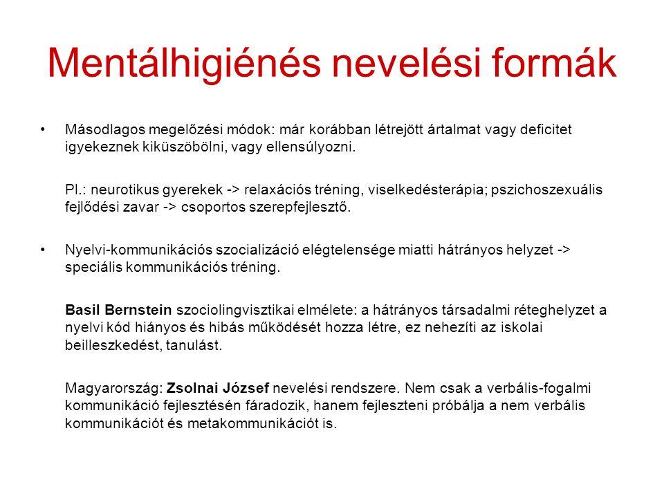 Mentálhigiénés nevelési formák