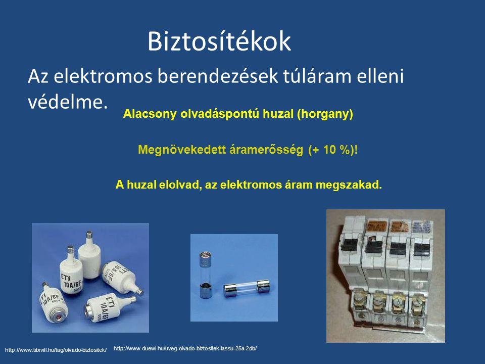 Biztosítékok Az elektromos berendezések túláram elleni védelme.