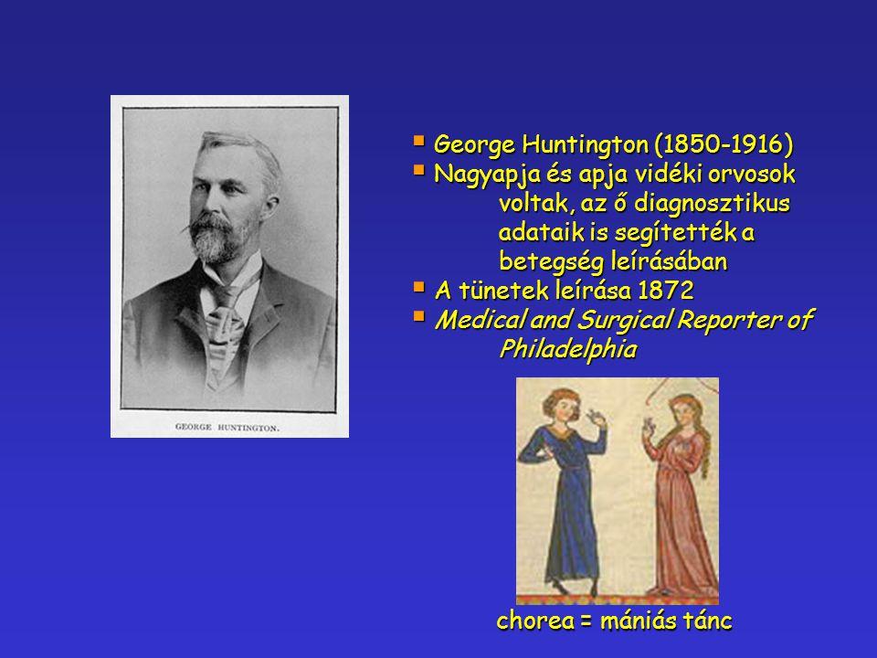 George Huntington (1850-1916) Nagyapja és apja vidéki orvosok voltak, az ő diagnosztikus adataik is segítették a betegség leírásában.