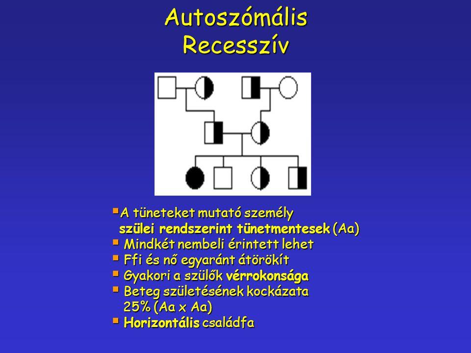 Autoszómális Recesszív A tüneteket mutató személy