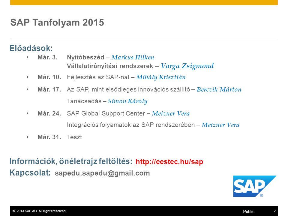 SAP Tanfolyam 2015 Előadások:
