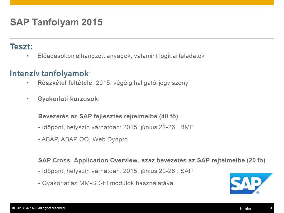 SAP Tanfolyam 2015 Teszt: Intenzív tanfolyamok:
