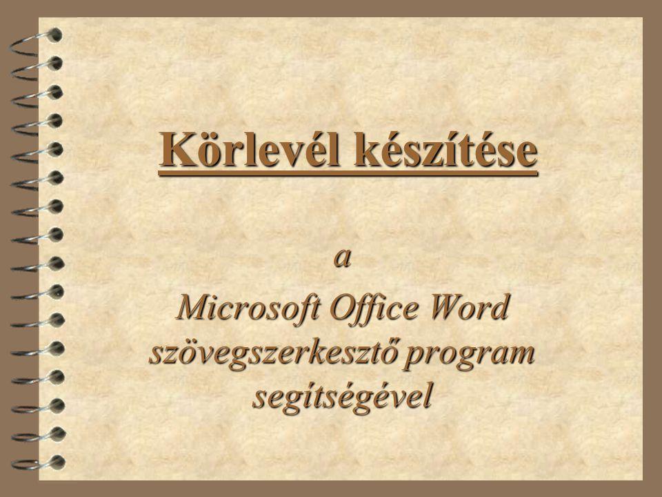 a Microsoft Office Word szövegszerkesztő program segítségével